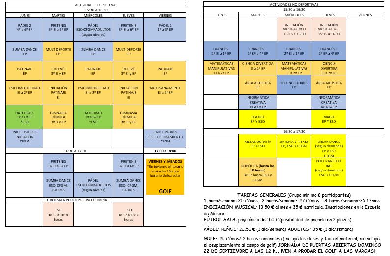 ACTIVIDAES EXTRAESCOLARES 2019-2020