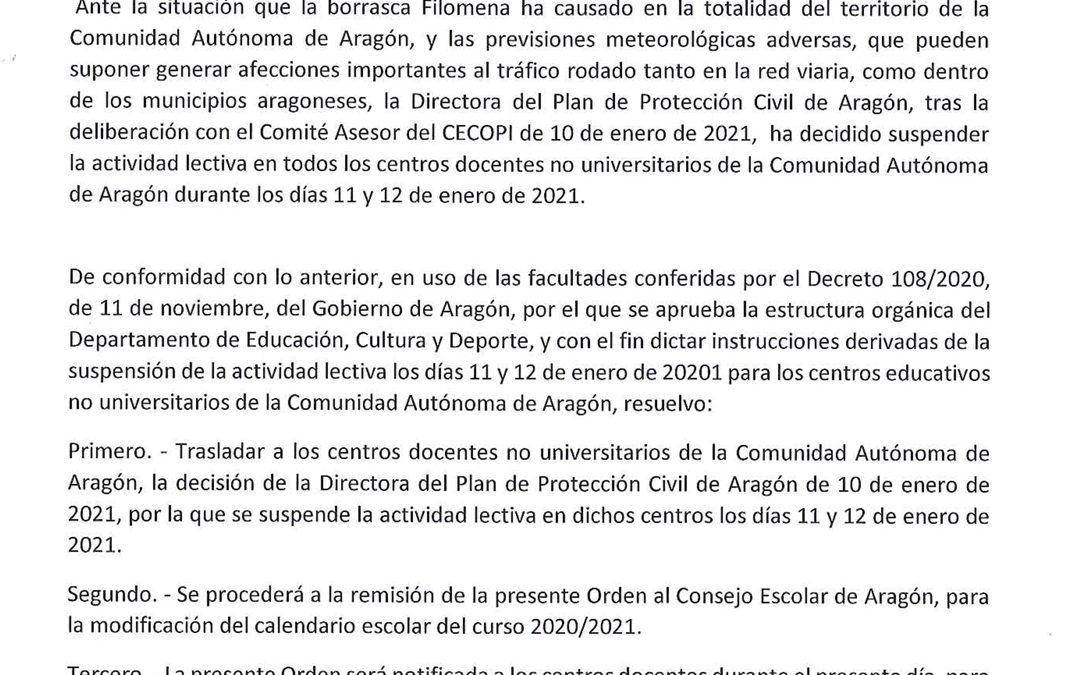 SUSPENDIDAS LAS CLASES EN TODO ARAGÓN EL LUNES 11 Y MARTES 12